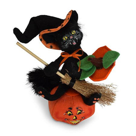 Annalee Dolls 6in 2018 Halloween Witch Kitty on Pumpkin Plush New with Tags - Witch Staff