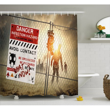Zombie Decor Shower Curtain, Dead Man Walking Dark Danger Scary Scene Fiction Halloween Infection Picture, Fabric Bathroom Set with Hooks, 69W X 70L Inches, Multicolor, by - Halloween Bathroom Decor