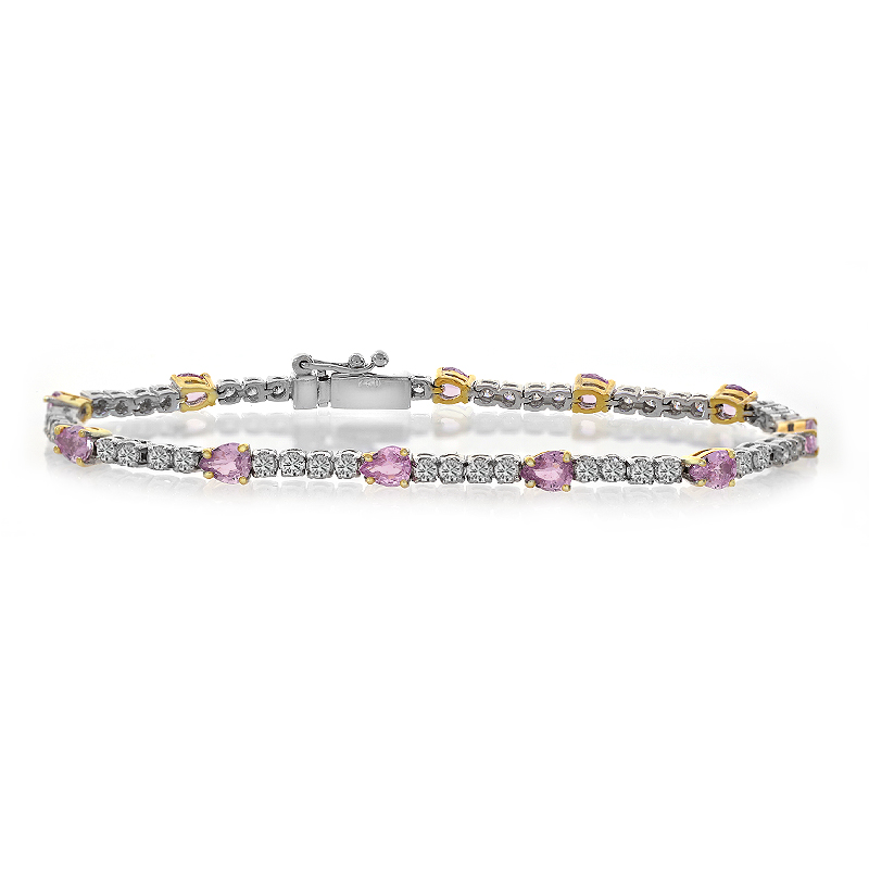 2.00 Carat Diamonds And 2.75 Carat Pink Sapphire Four Prong Tennis Bracelet 18K Two Tone Gold by
