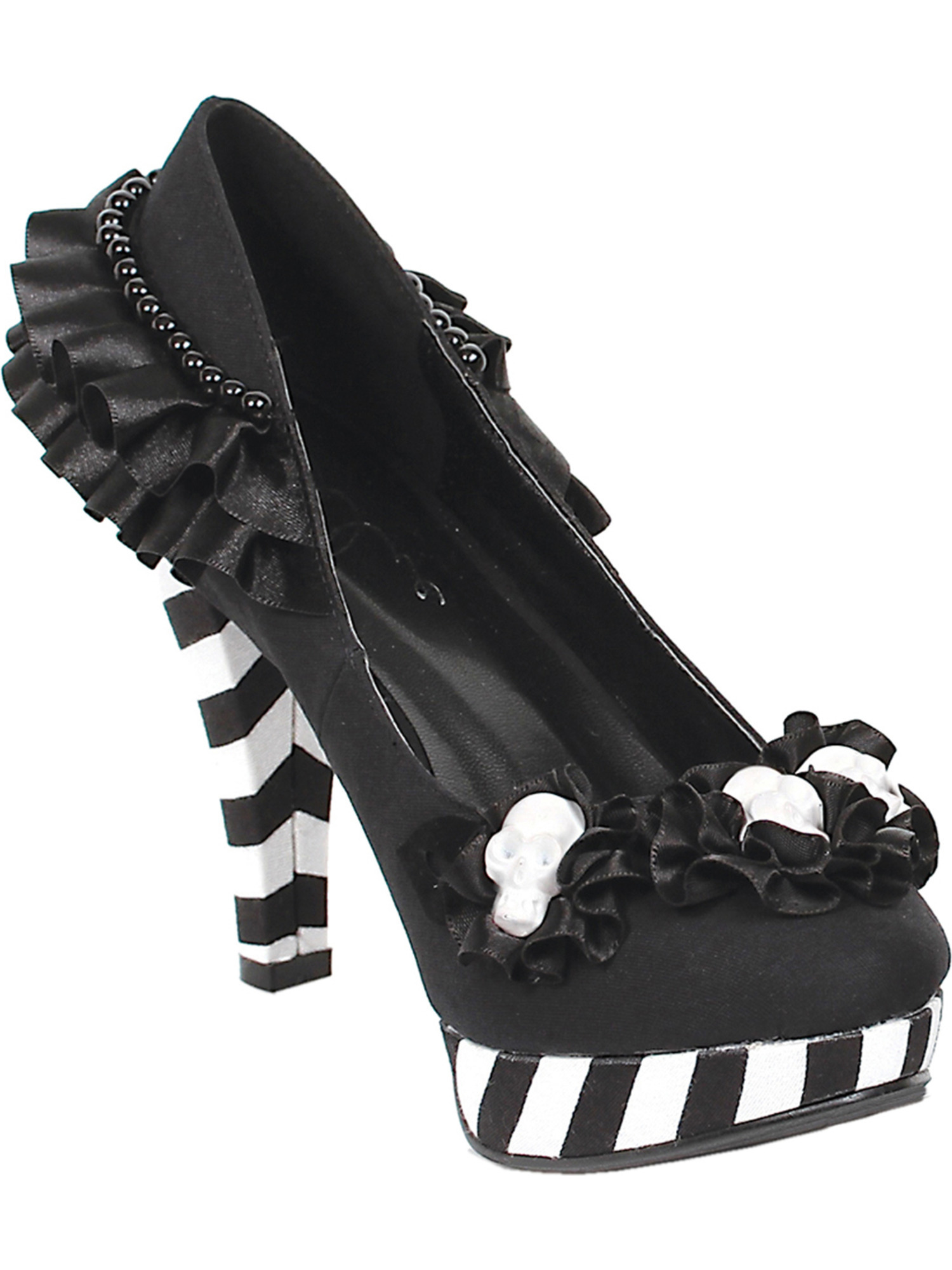 Womens Black and Ruffle White Shoes Platform Pumps Ruffle and Flowers Skulls 4 Inch Heels 181209