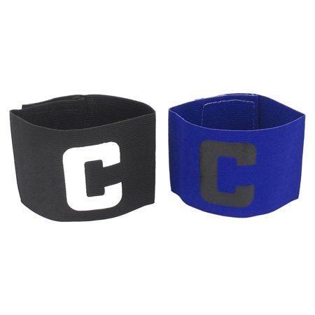 C Printed Stretchy Football Soccer Match Player Captain Armband Black Blue - Soccer Player Photo