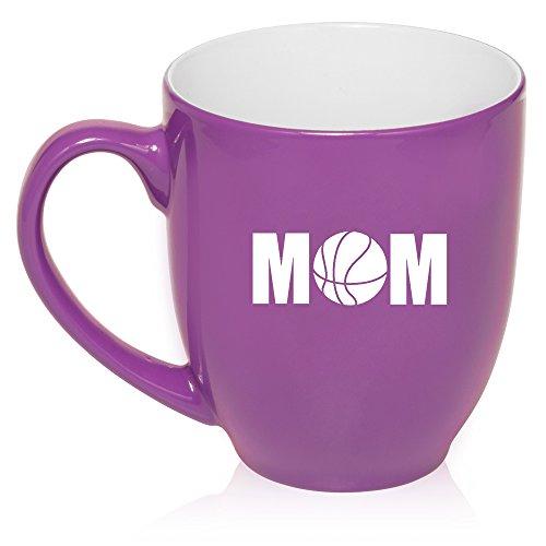 16 oz Purple Large Bistro Mug Ceramic Coffee Tea Glass Cup Mom Basketball