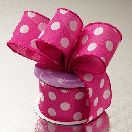 Hot Pink White Linen 2-1/2 inches x 10 yards Polka Dot Wired Decorative Ribbon - Hot Pink Polka Dot