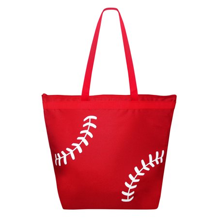 Baseball Laces Tote Bag Red with White (Red Tote Bag)