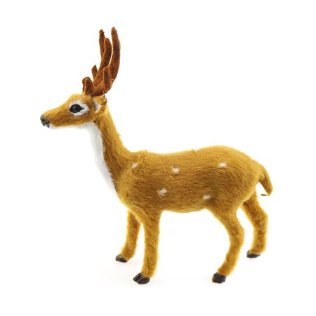 lovely simulation reindeer christmas ornament plush deer christmas decorationsyellow white - White Deer Christmas Decoration