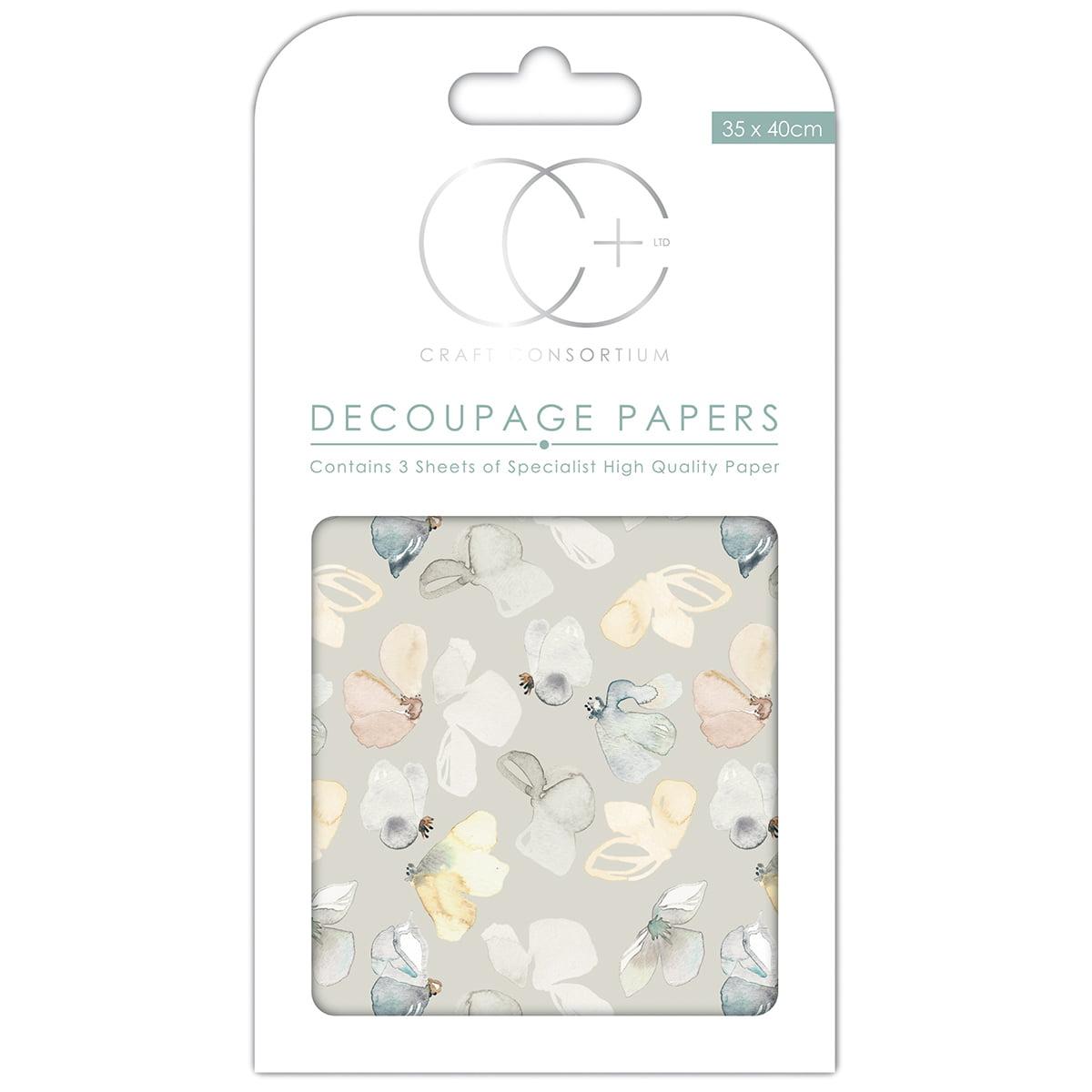 """Craft Consortium Decoupage Papers 13.75""""X15.75"""" 3/Pkg-Meadow Flutter - image 1 de 1"""