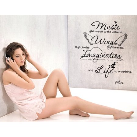 Music gives a soul to the universe, wings to the mind, flight to the imagination and life to everything Wall Decal - Music Wall Sticker Quote - 4136 - White, 24in x 28in