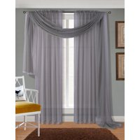 "Decotex 3 Piece Sheer Voile Curtain Panel Drape Set Includes 2 Panels and 1 Scarf (63"" Length, Orange)"