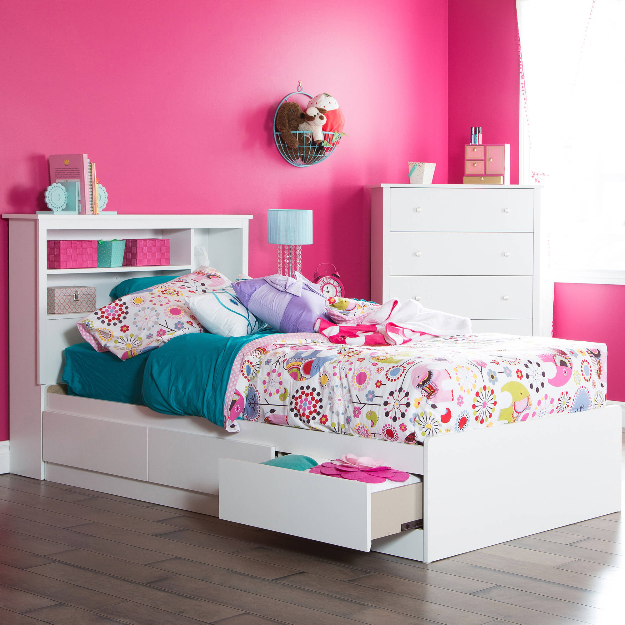 """South Shore Vito Twin Storage Bed (39"""") with 3 Drawers, Multiple Finishes"""