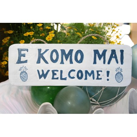 E Komo Mai  Welcome  Cottage Sign 14    Rustic White   Blue   Coastal Decor