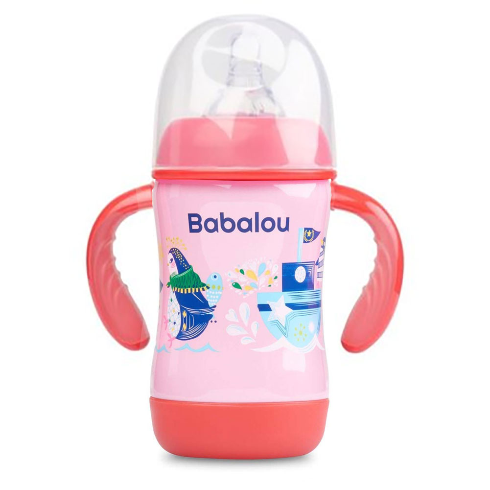 Babalou Baby Stainless Steel Pink Penguin Double Wall Insulated Bottle, 180 ml