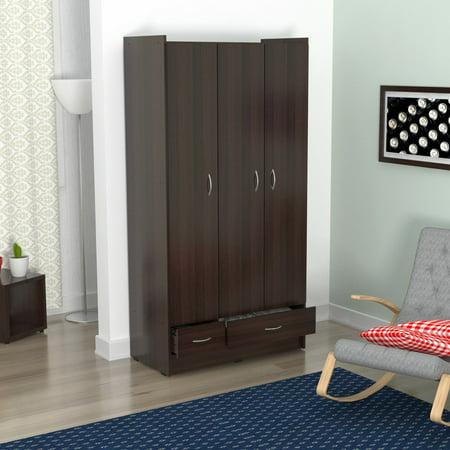 Espresso Armoire - Inval Three Door 2 Drawer Wardrobe/Armoire, Espresso-Wengue Finish
