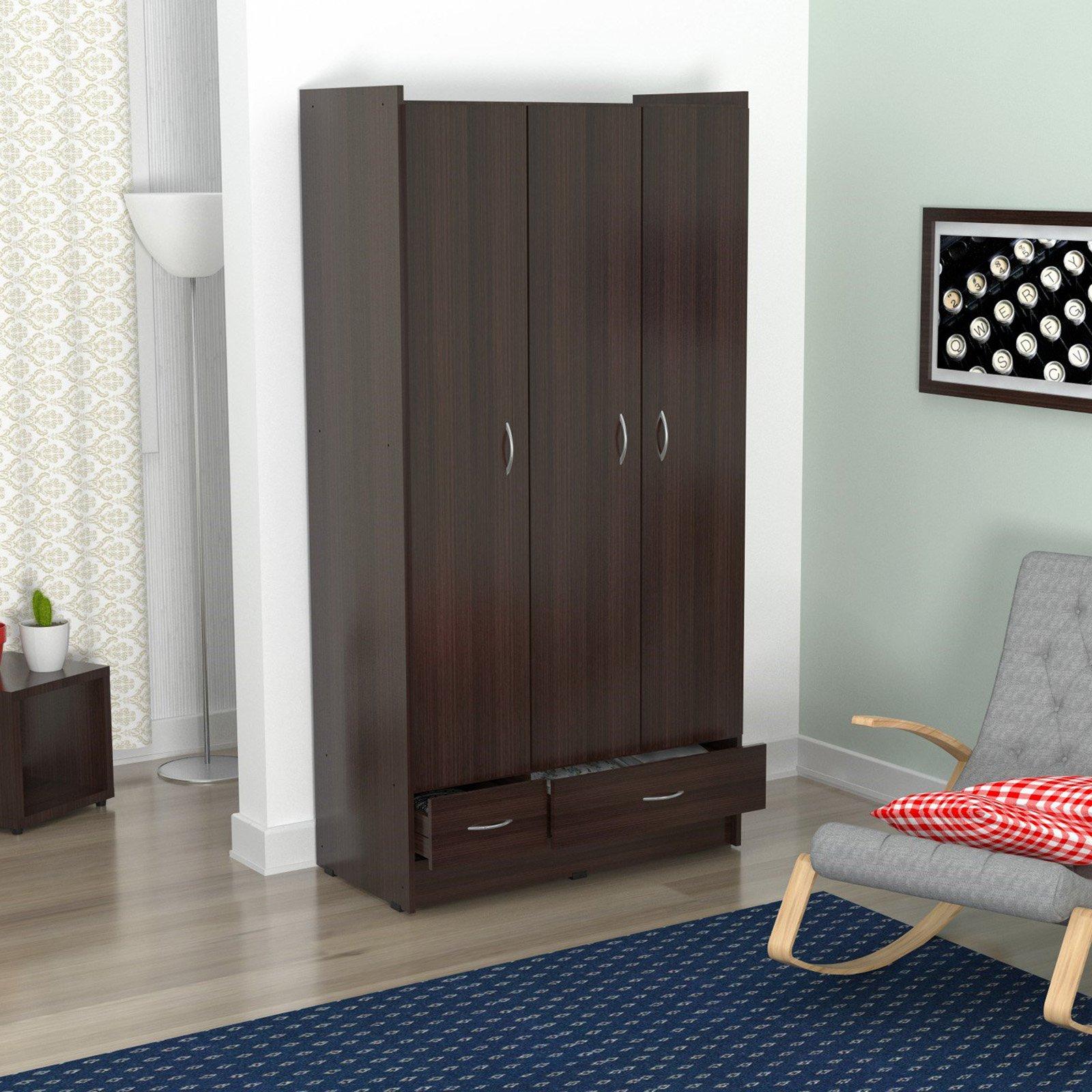 Inval Three Door 2 Drawer Wardrobe/Armoire, Espresso-Wengue Finish