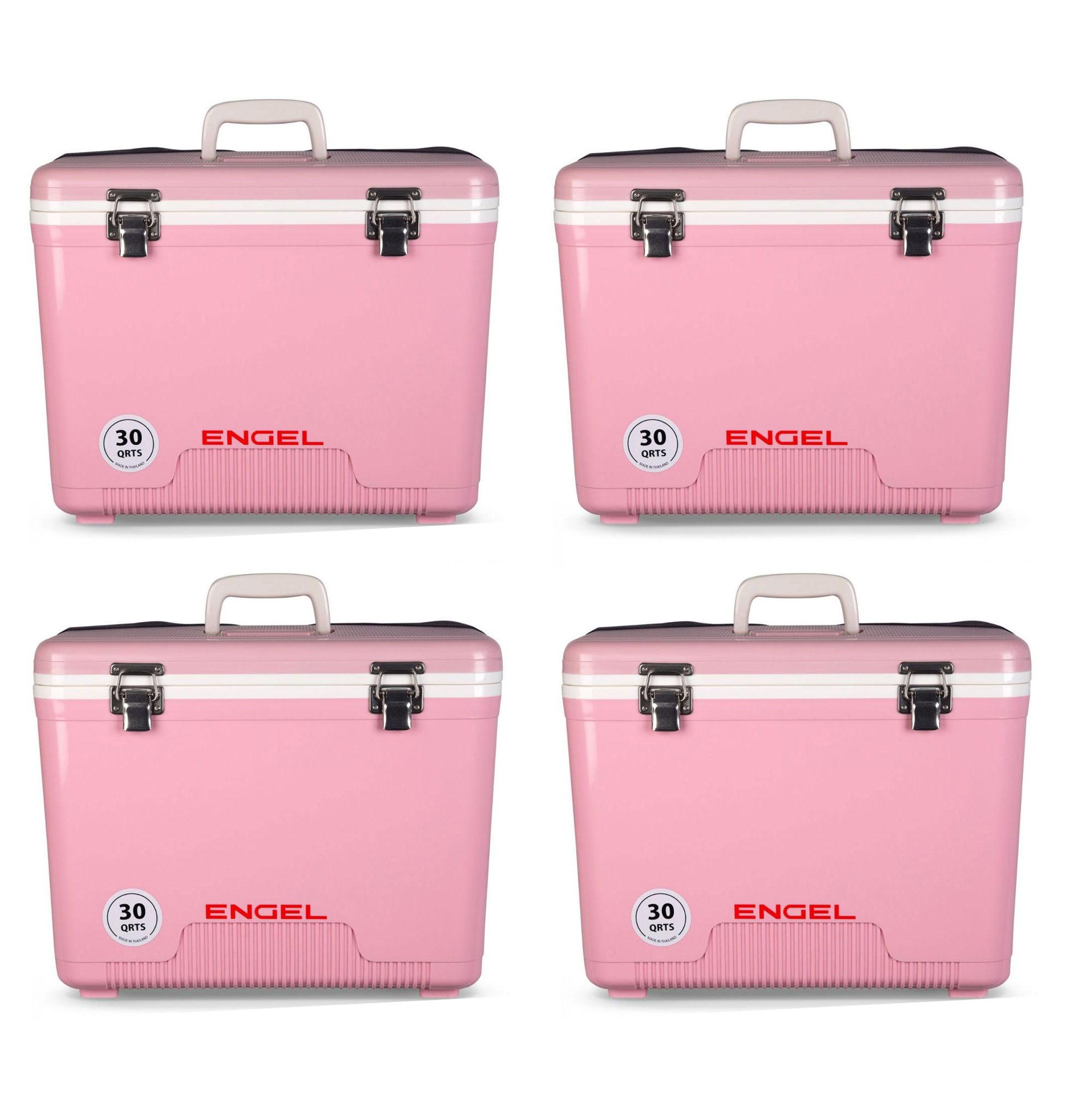 Engel Coolers 30 Quart 48 Can Lightweight Insulated Cooler Drybox, Pink (4 Pack)