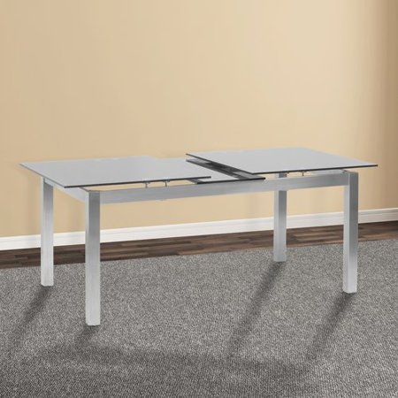 Armen Living Ivan Extension Dining Table With Brushed Stainless Steel And Gray Tempered Glass Top