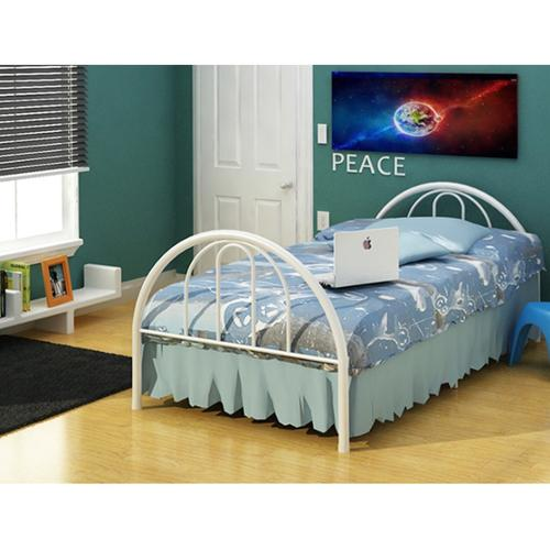 Rack Furniture LLC Rack Brooklyn White Steel Twin Bed