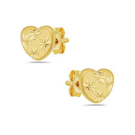 14k Yellow Gold Diamond Cut Heart Stud Earrings