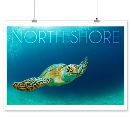 North Shore, Hawaii - Sea Turtle Swimming - Lantern Press Photography (9x12 Art Print, Wall Decor Travel Poster) ()