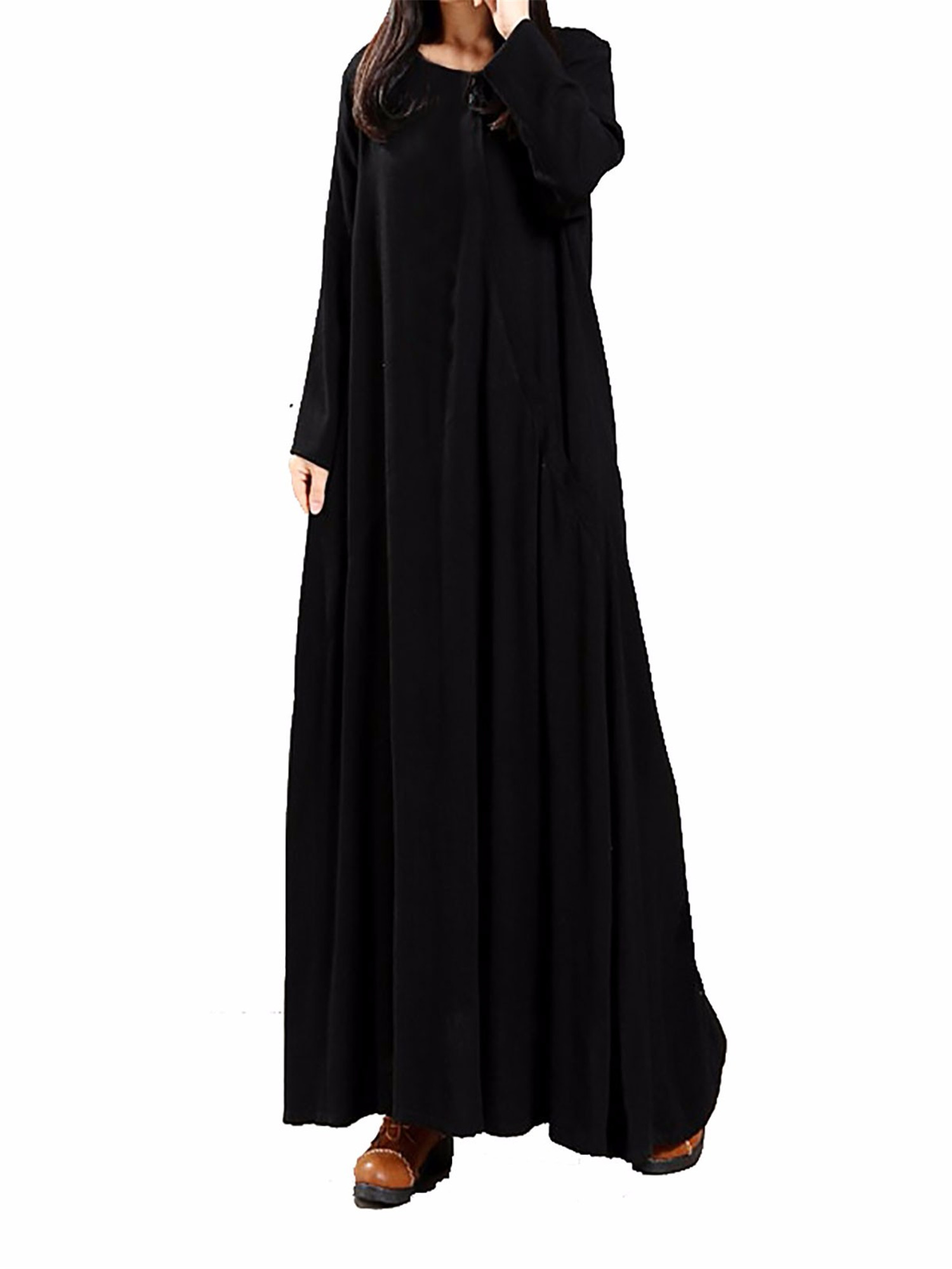 Maxi Dresses for Womens Cotton Long Sleeve Vintage Irregular Hem