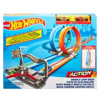 Hot Wheels Double Loop Dash Drag Racing Playset with 2 Vehicles