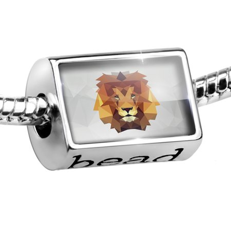 - Bead Low Poly zoo Animals Lion Charm Fits All European Bracelets