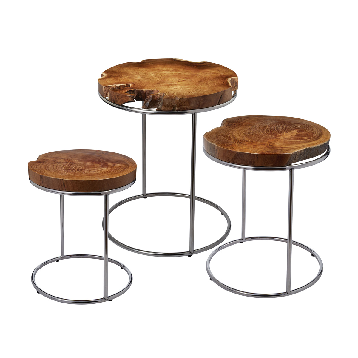 Natural teak stacking tables - set of 3