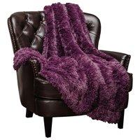 "Chanasya Super Soft Shaggy Longfur Throw Blanket | Snuggly Fuzzy Faux Fur Lightweight Warm Elegant Cozy Plush Sherpa Microfiber Blanket | For Couch Bed Chair Photo Props -50 ""x 65""- Purple Aubergine"