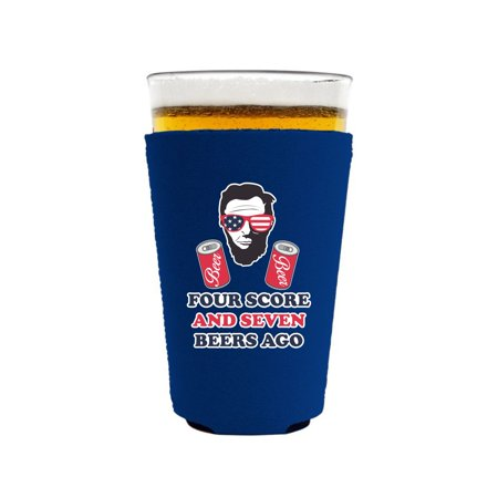 Four Score and Seven Beers Ago Neoprene Collapsible Pint Glass Coolie (Royal Blue) ()