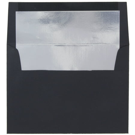 JAM Paper A8 Foil Lined Envelopes, 5 1/2 x 8 1/8, Black Linen with Silver Foil Lining, 25/pack