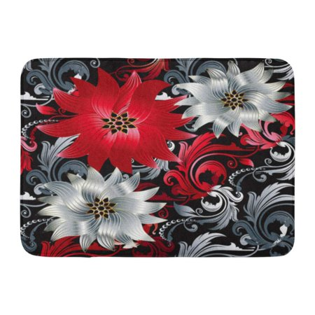 Red Leaf Scroll (KDAGR Floral Baroque Vintage Beautiful Modern 3D White and Red Flowers Swirl Scroll Leaves Victorian Ornaments Doormat Floor Rug Bath Mat 23.6x15.7 inch )