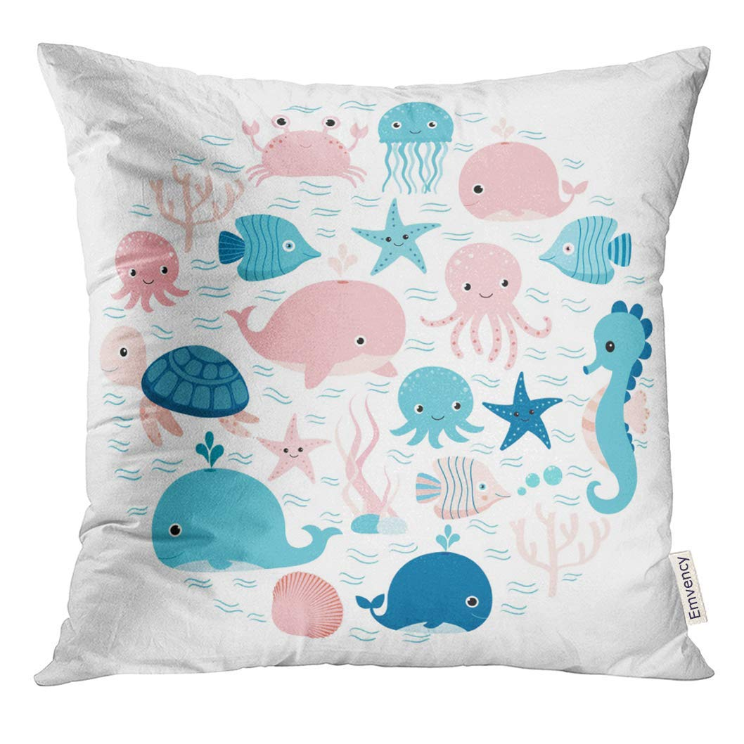 ARHOME Blue Baby Group of Sea Animals and Underwater Creatures in Circle Shape for Children Designs Pink Cute Pillow Case 16x16 Inches Pillowcase