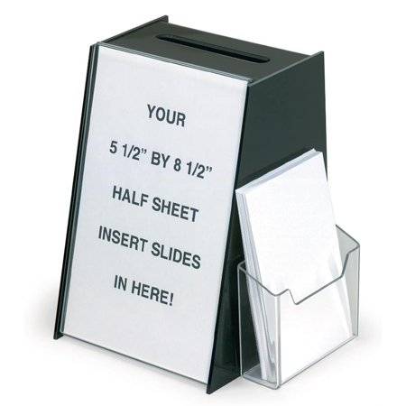 Acrylic Ballot Box with Holder for 5.5 by 8.5 Inch Sign and a Brochure Pocket - Black (RBHSLHWM44)
