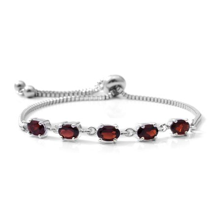 Girls 925 Sterling Silver Garnet Bolo Bracelet Adjustable Cttw 2.3