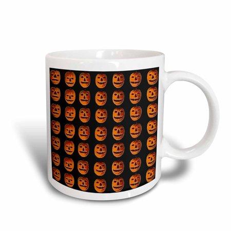 3dRose Vintage Halloween Jack o Lanterns Pattern, Ceramic Mug, 15-ounce