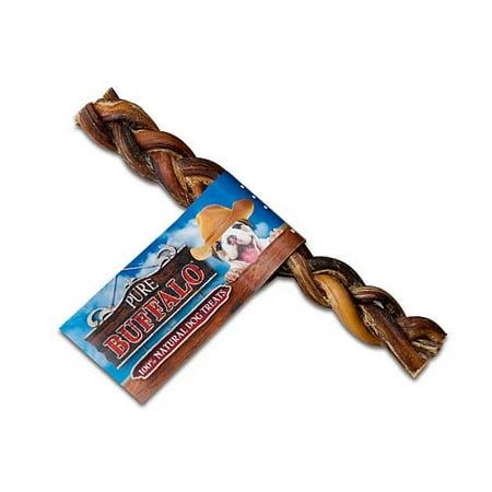 "Pure Buffalo 9"" Braided Bully Stick Dog Treat 2/Pkg"