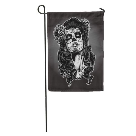 LADDKE Gray Tattoo Woman Sugar Skull Face Paint Dead Day Zombie Halloween Garden Flag Decorative Flag House Banner 12x18 inch - Sugar Skull Halloween Paint