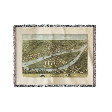 Wheeling  West Virginia   Panoramic Map  60X80 Woven Chenille Yarn Blanket