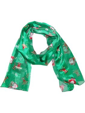 CTM  Christmas Holiday Santa and Reindeer Print Lightweight Scarf (Women's)