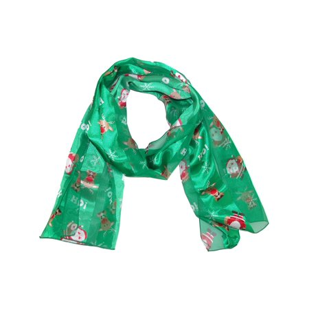 Size one size Women's Christmas Holiday Santa and Reindeer Print Lightweight Scarf, Green](Holiday Scarf)