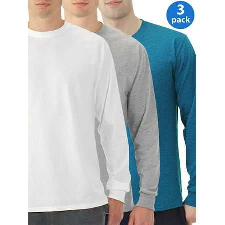 Eversoft Big Men's Long Sleeve Crew T-Shirt with Rib Cuffs, 3 Pack