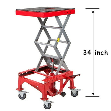 300lb Motorcycle Hydraulic Scissor Floor Jack Lift | Wide Deck Center Stand (Direct Lift Motorcycle Lifts)
