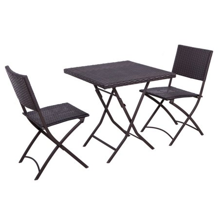 Palm Springs Garden Furniture Rattan Wicker Folding Bistro Set w/ Chairs,
