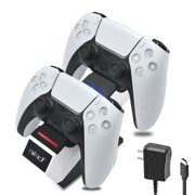 Controller Charger for PS5, Upgraded Charging Station Dock with AC Adapter & LED Indicator, Safety Chip Protection, Dual Type C Fast Charging, for Sony DualSense Controller, White
