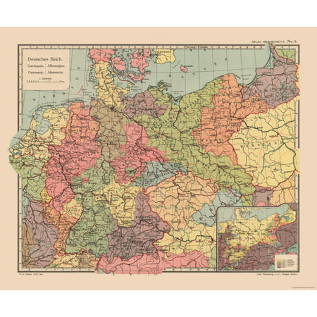 International Map - Germany - Streit\'s Atlas 1913 - 27.61 x 23 ...
