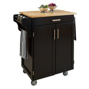 Cuisine Cart Black Finish with Wood Top