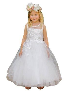 Little Girls White Illusion Neckline Floral Lace Adorned Flower Girl Dress
