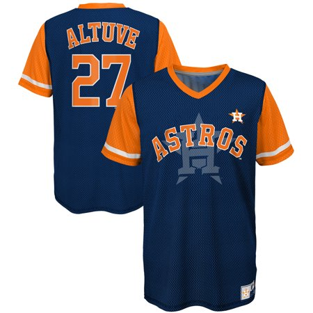 quality design e83a6 d8dd7 Jose Altuve Houston Astros Majestic Youth Play Hard Player V-Neck Jersey  T-Shirt - Navy/Orange