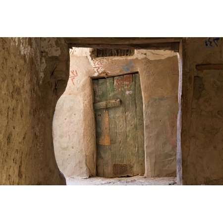 Door in Oasis Town of Al Qasr in Western Desert of Egypt with Old Town Print Wall Art By Peter