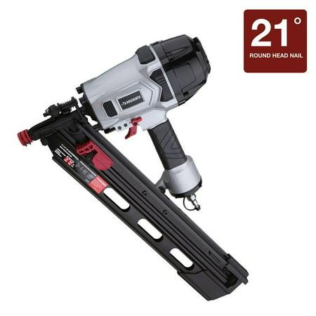 Husky Pneumatic 3-1/2 in. 21 Degree Full-Head Strip Framing Nailer Nail Staple Gun DPFR2190 ()