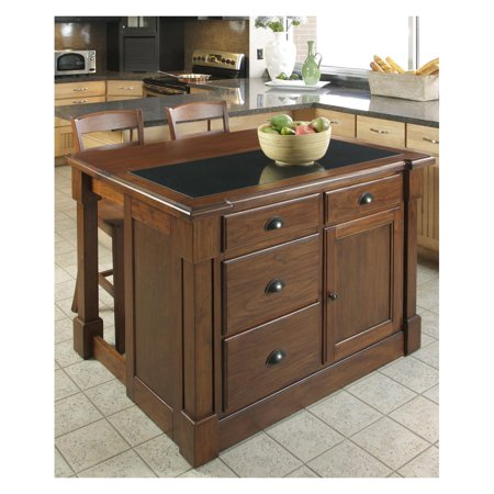 Home Styles Aspen Kitchen Island with Hidden Drop Leaf Support, Granite Top and 2 Bar